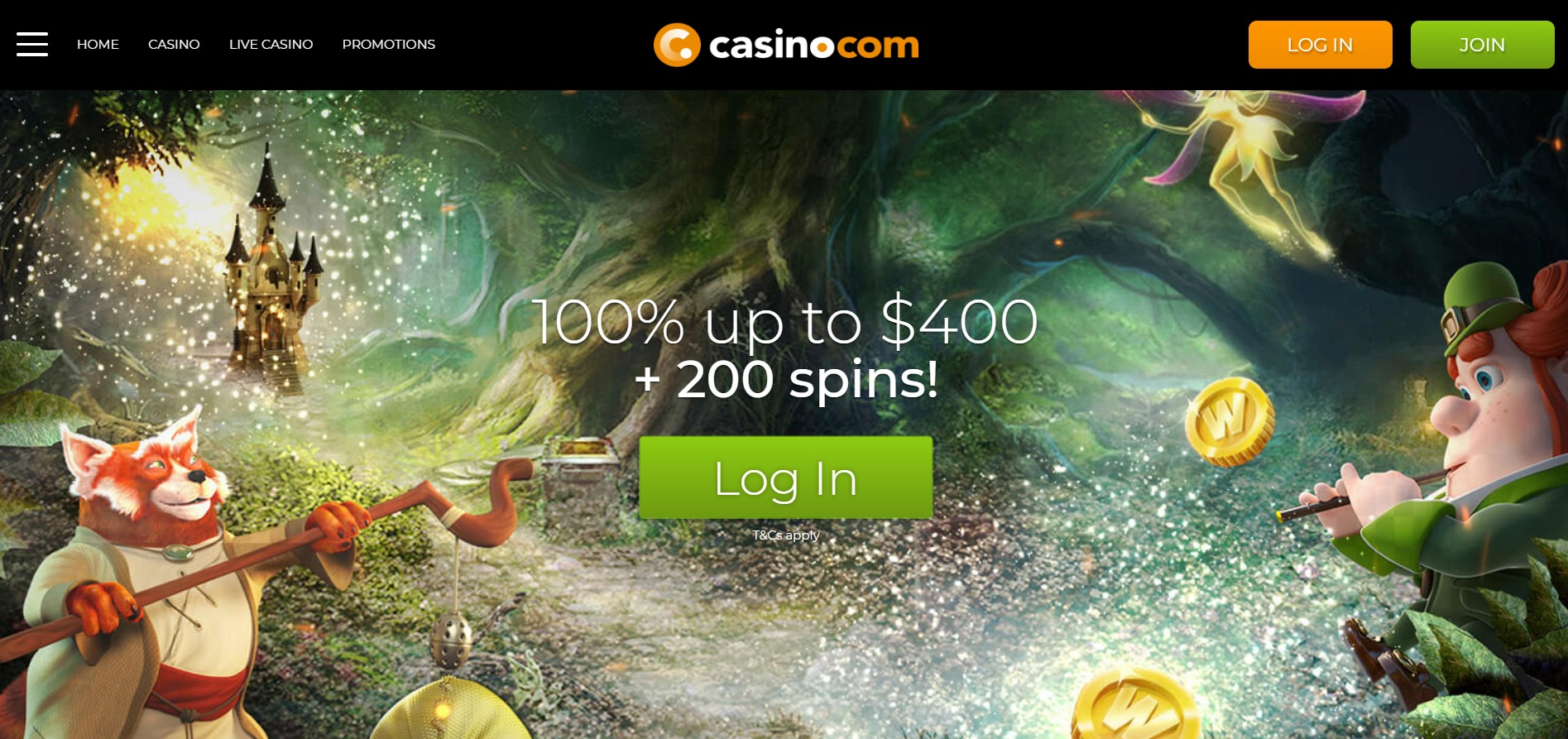 Casino.com website landing page