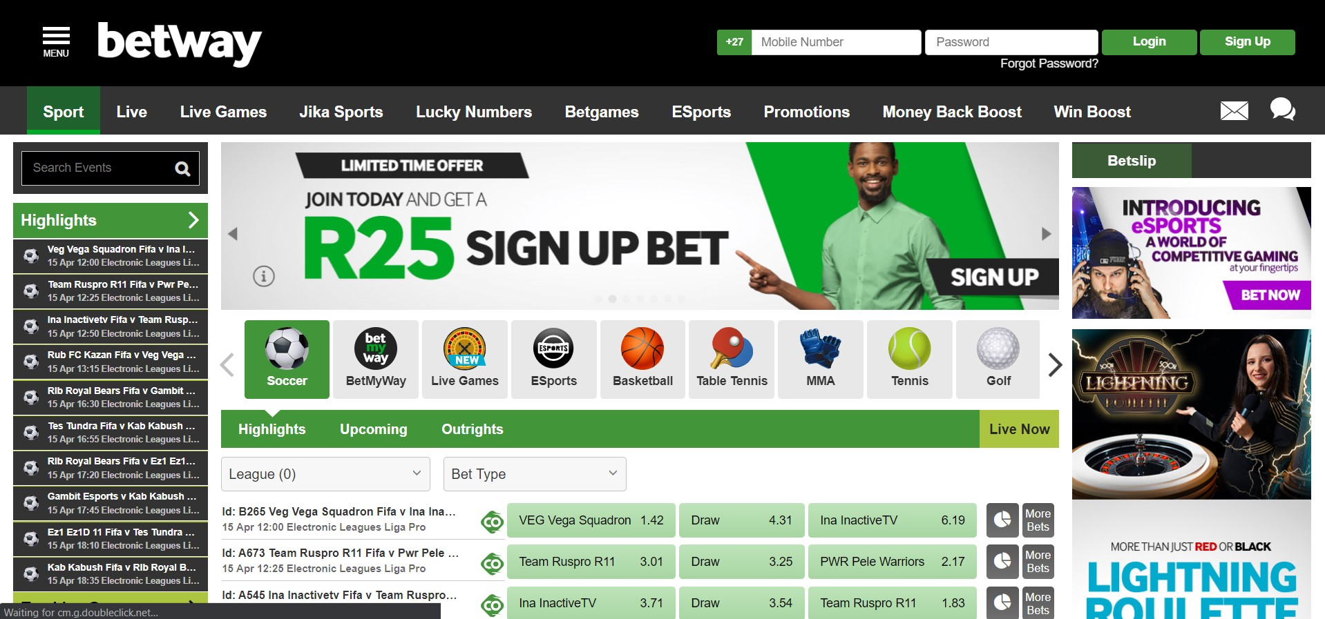 Betway South Africa Landing page