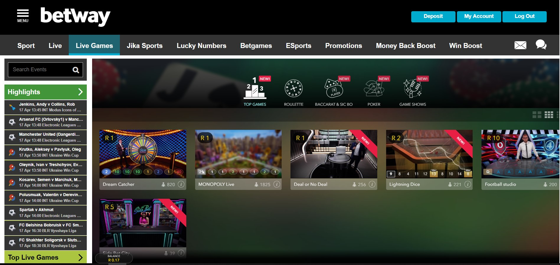 Betway South Africa Live Casino